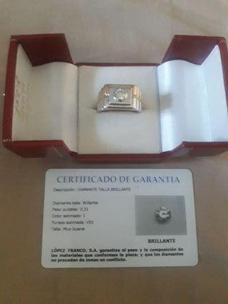 anillo, solitario con diamante