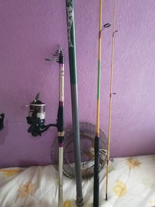 set de cañas y utensilios de pesca
