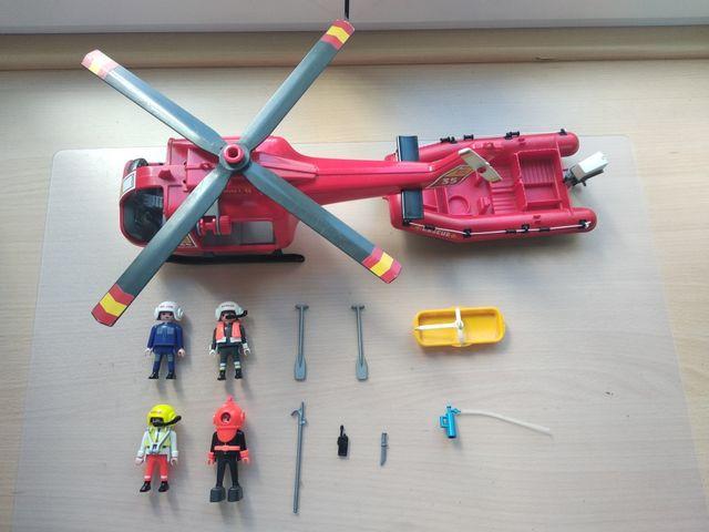 Helicóptero y lancha Playmobil