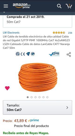 Cable categoría 7 Cat7 50m SFTP