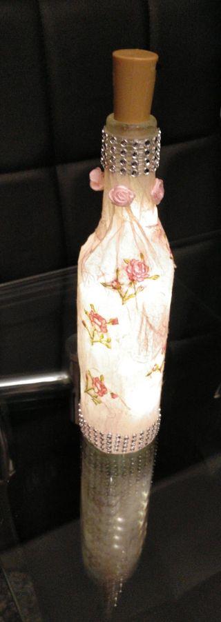 Botella artesanal iluminada