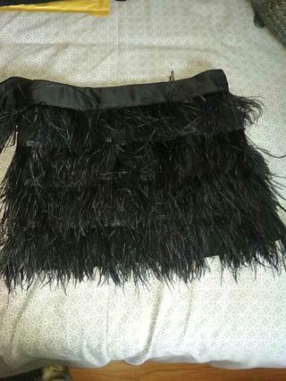 Mini falda de plumas