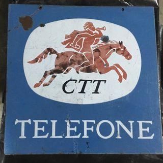 Antiguo cartel a doble cara esmaltado TELEFONE