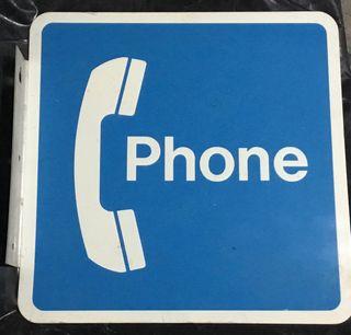 Antiguo cartel telefónico esmaltado PHONE