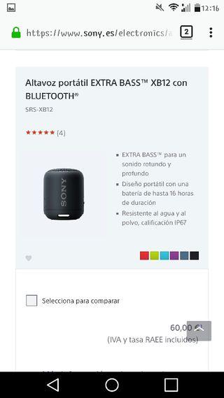 Sony bluetooth , altavoce xtrabass