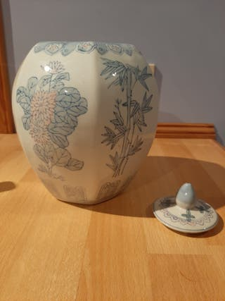 Large Chinese GingerJar 12 Inches High With Lid Fa