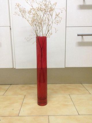 Jarrón tubo cristal rojo