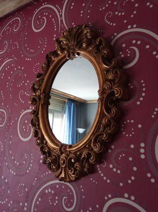 espejo marco ornamental de madera cromado dorado