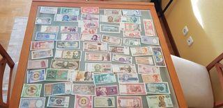 lote 58 billetes mundiales distintos sin circular