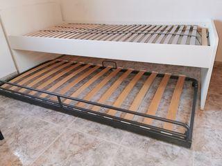 cama individual con cama supletoria debajo