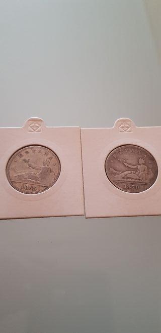lote 2 monedas de 2 pesetas plata 1869 1870