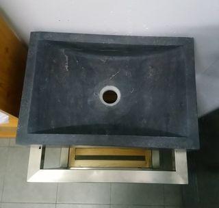 Lavabo piedra mármol gris