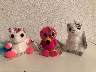 Llavero de peluche, unicornio, llama, loro