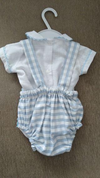 Conjunto peto+camisa bebé 0-3 meses
