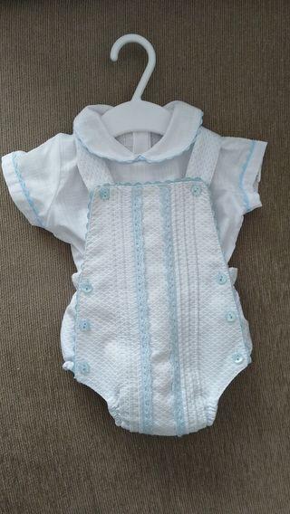 Conjunto peto+camisa bebé 0-3 Medes