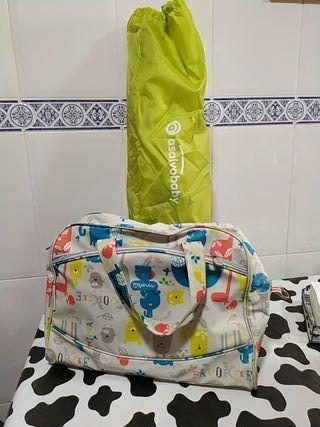 barrera cama y bolso maternal