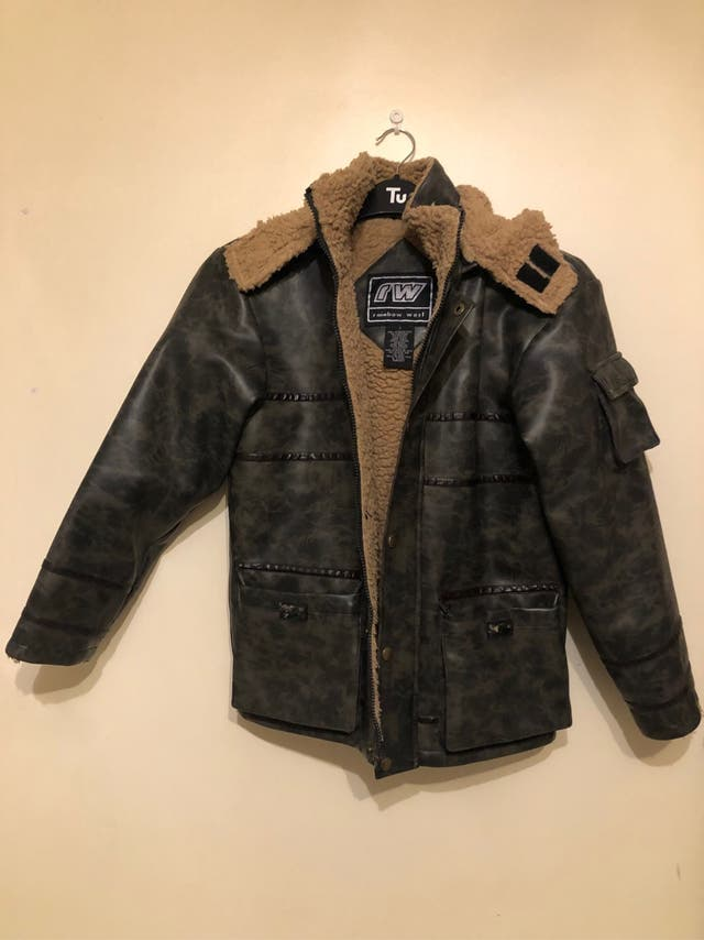 Dark brown leather jacket XS