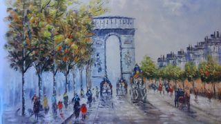Paris Aniguo arco d triunfo , pintura a oleo