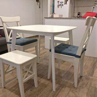 Mesa comedor blanca 4 personas