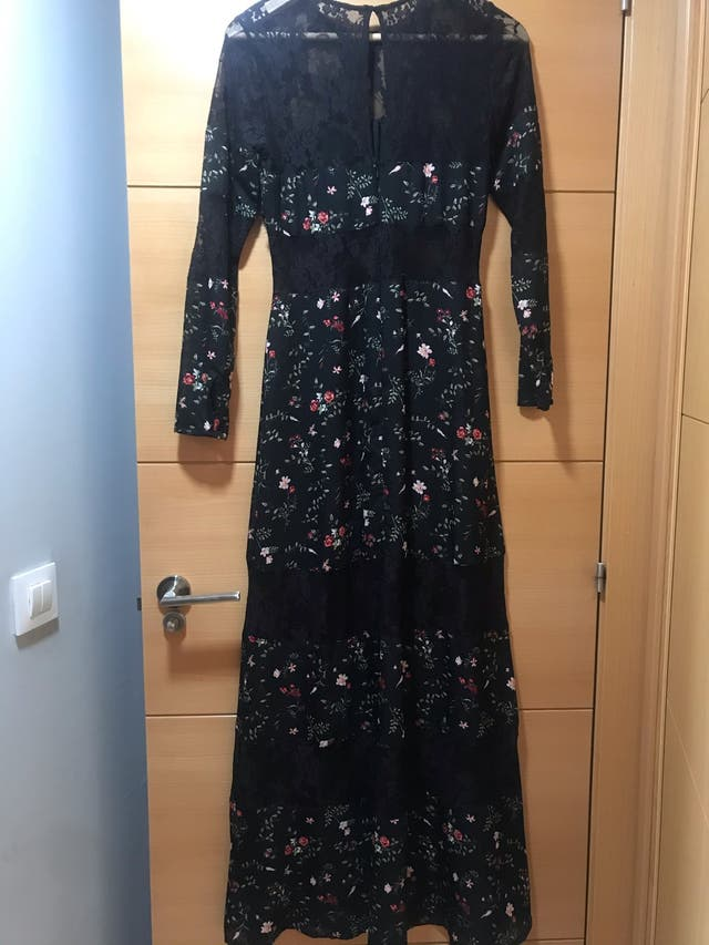 Vestido largo flores encaje y organza