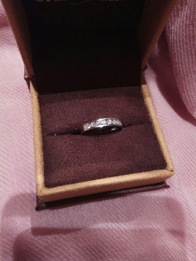 Anillo diamantes oro blanco Talla 10