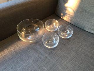 Juego ensaladera y 3 bol cristal