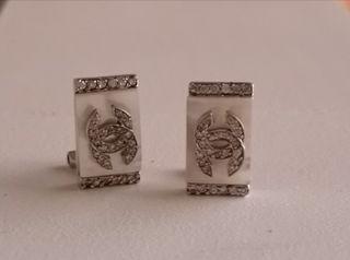 Pendientes Estilo Chanel Diamantes Nácar Plata