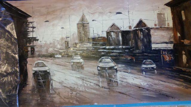 New York streets, pintura a oleó