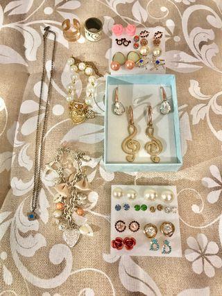 Lote pendientes, pulseras anillos y colgante plata