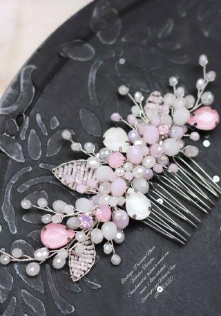 Peina Artesanal tocado novia en tono rosa plata