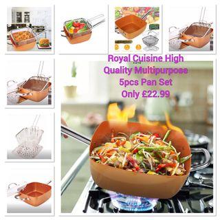 Royal Cuisine Non Stick Copper 5pcs Pan Set