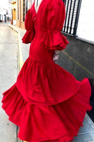 Traje de flamenca rojo talla 38