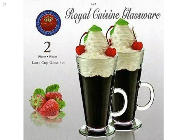 NEW ROYAL CUISINE SET OF 2 LATTE CUP GLASSES SET