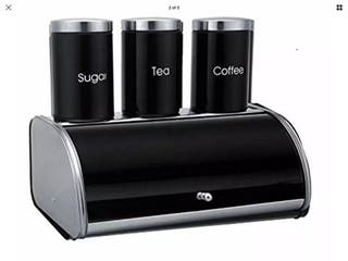 Stainless Steel 4pc Bread Bin With Canister Set