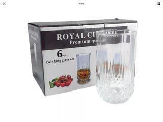 Glass Tumbler Set of 6 Royal Cuisine NEW