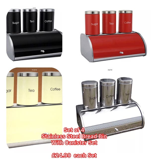 Stainless Steel 4pc Bread Bin With Canister
