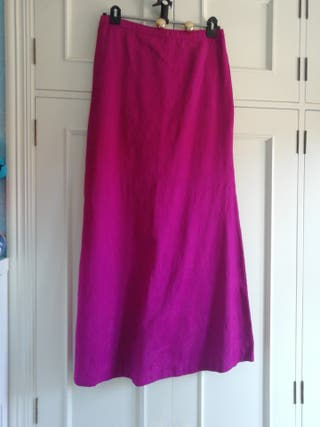 Falda larga talla 38 mango estampada flores fuxia