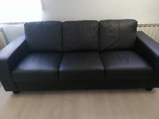 Sofá 3 plazas piel, negro Ikea
