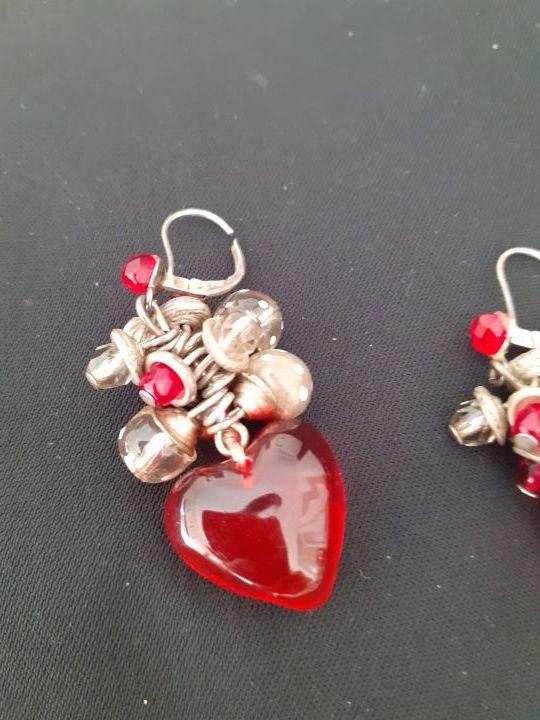 pendientes rojos de plata
