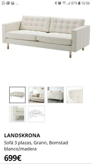 Sofa 3 plazas IKEA Landskrona blanco/madera