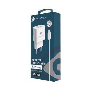 CARGADOR CON CABLE TIPO C 3.1A CON 2 USB NP-C199
