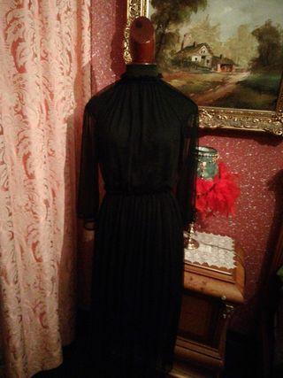 Vestido largo transparente negro talla M