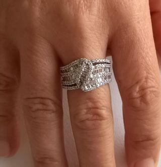 Anillo Oro Blanco 18k Diamantes Retro