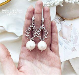 Pendientes de perla Swarovski joya de novia