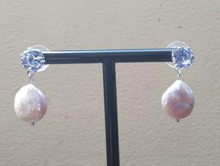 Pendientes circonitas y perla