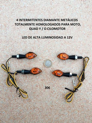 4 intermitentes led diamante metálicos homologados