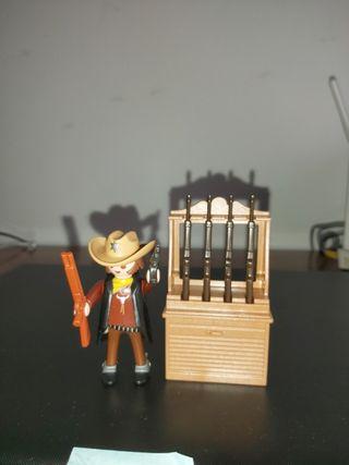 Playmobil sheriff y Armero con 4 winchester