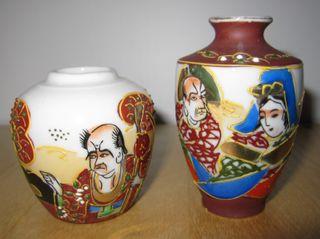 Antigua pareja jarrones porcelana japonesa Satsuma