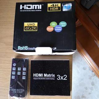 Multiplicador HDMI 3 entradas 2 salidas + 1 optica