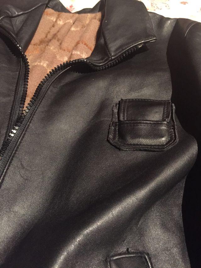 Cazadora cuero negro de piloto frances